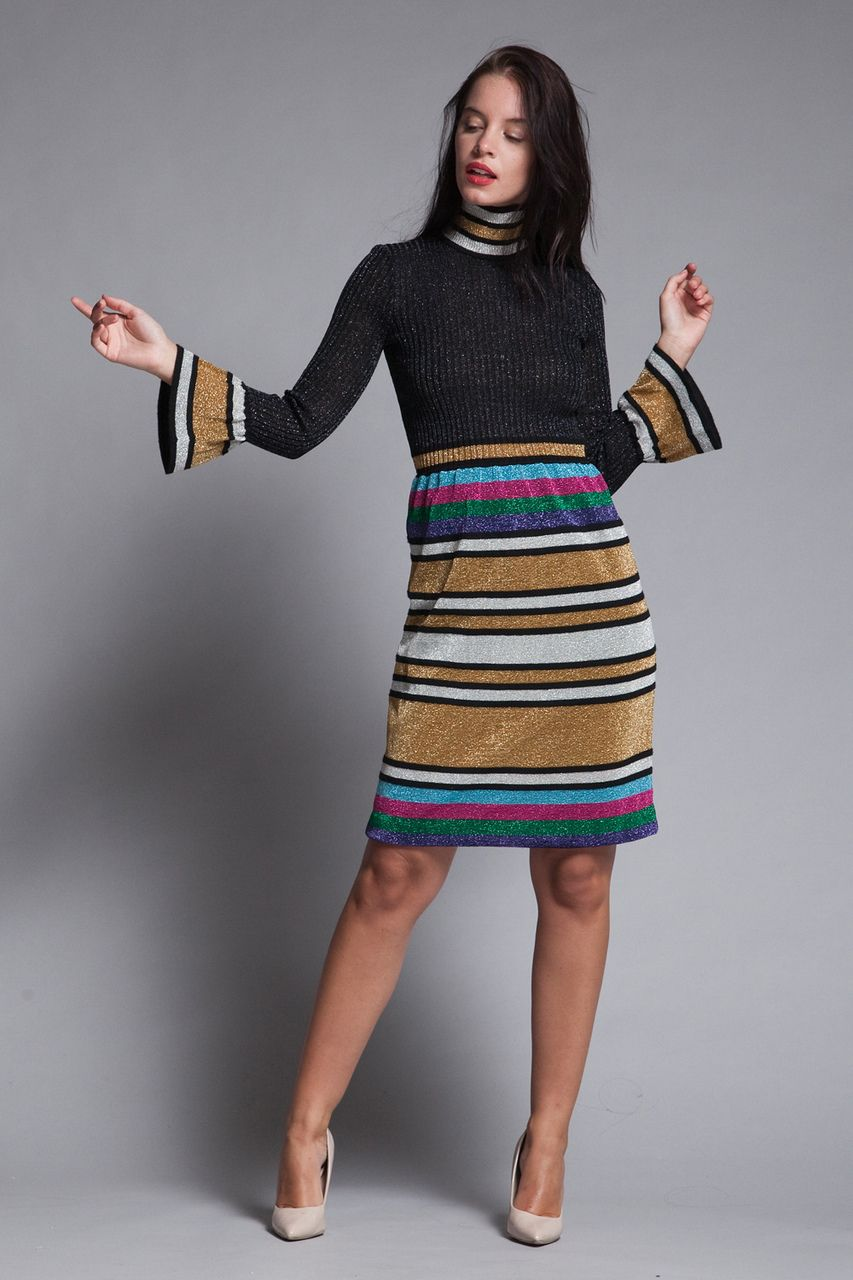 142a6843 metallic striped knit dress lurex bell sleeves sparkly party cocktail  turtle neck vintage SMALL MEDIUM S M - The Rabbit Hole