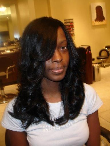 Black Weave Hairstyles Unique Feathered Curled Long Black Weave Hairstyles  Bob Weave Weave