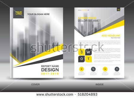Yellow Cover Annual Report Brochure Flyer Template Creative Design