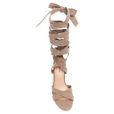 6d3bf31abb8 Women s Wild Pair Cosmo Black Heel Ankle Wrap Sandal - Mink 8.5 ...
