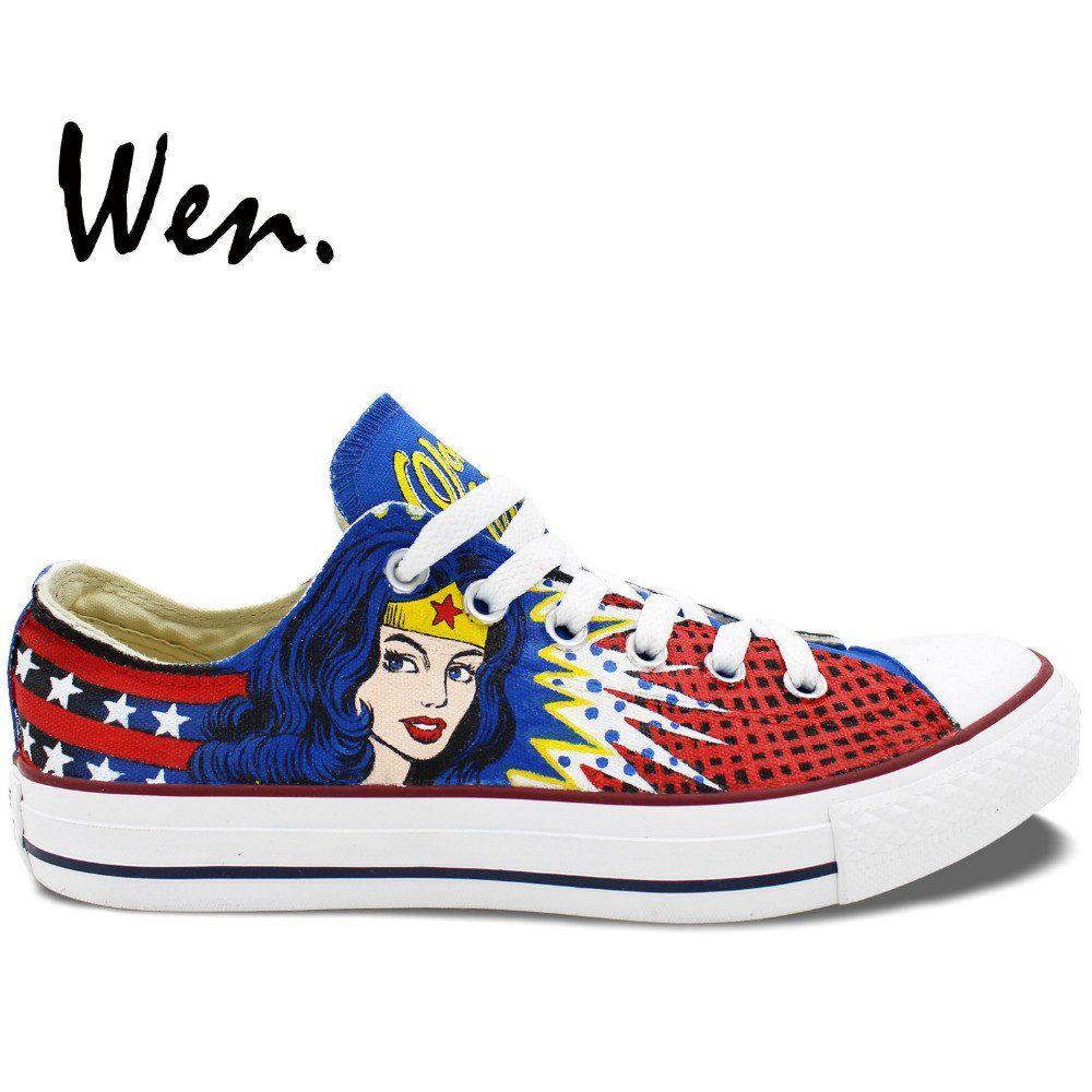 252c418db329 Wonder Woman Wen Hand Painted Shoes - Custom Design Sneakers - Men Wom –  Superhero Universe