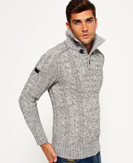 Superdry Mega Cable Henley Sweater   Cardigans For Men   Pinterest