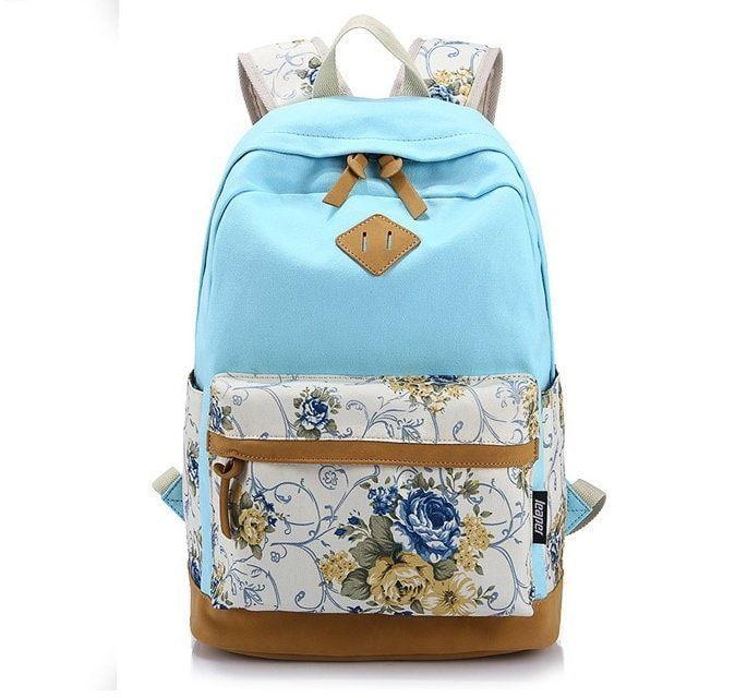 Floral Canvas Backpack School Bag Laptop Bag Printing Travel Mochila
