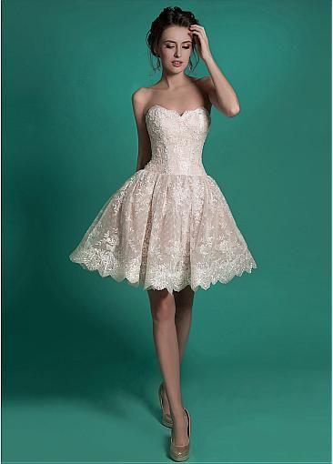 Fabulous Lace Sweetheart Neckline Ball Gown Mini Wedding Dresses ...