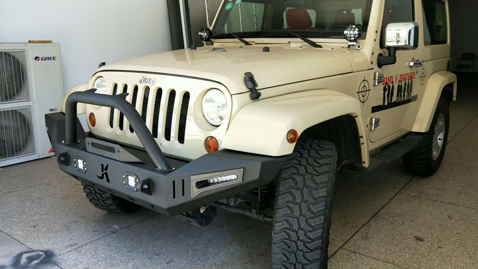 Picture Of A Jk Warehouse Custom Design Front Bull Bar With Led Lights On Special Jeep Wrangler Front Bumper Jeep Wrangler Offroad Accessories