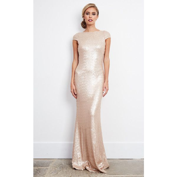 D.anna Rose Gold Sequin Embellished Maxi Dress (£145) ❤ liked on Polyvore featuring dresses, neutral, sparkly prom dresses, evening dresses, rose gold sequin dress, cocktail dresses and sequin dresses