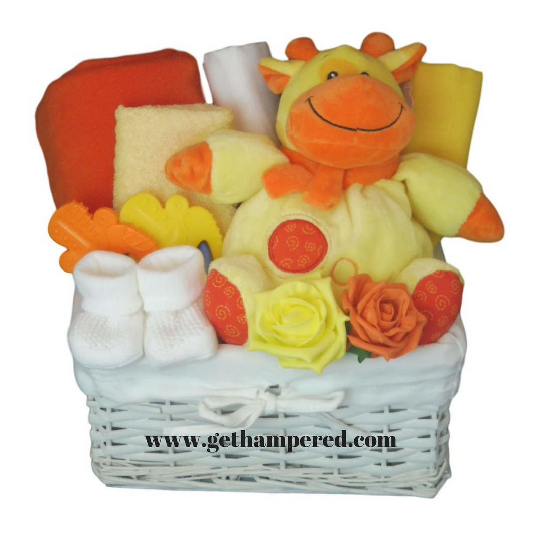 'Ray Of Sunshine' is a bright, unisex new baby hamper gift