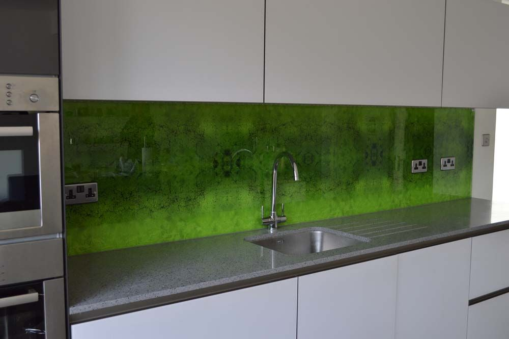 Kitchen Tiles Glass Splashback green moss printed kitchen glass splashback. collections of images