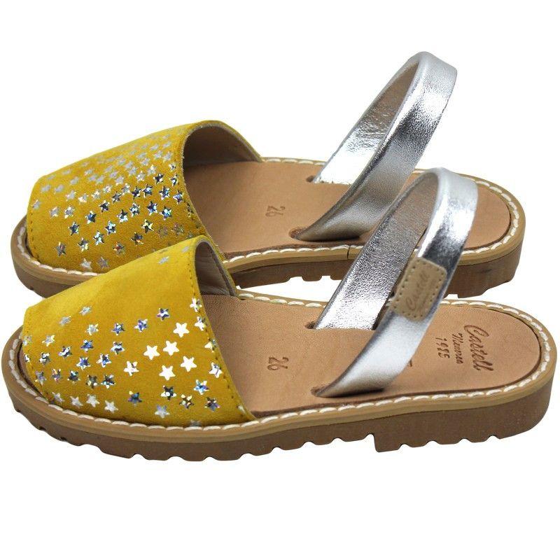Avarcas Castell sandals Madona Yellow with Silver Stars | notsobig