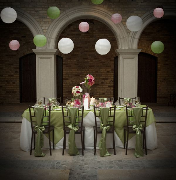 Pink and green guest table could the japanese hanging lights be any image detail for pink green wedding inspiration junglespirit Images