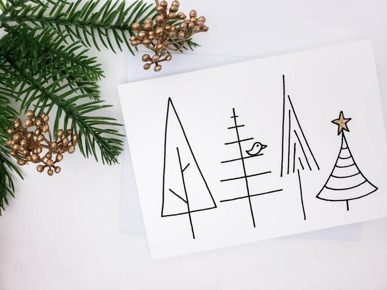 Minimalist Christmas Cards Black And White Christmas Card Etsy Minimalist Christmas Card Christmas Cards Drawing Christmas Card Crafts