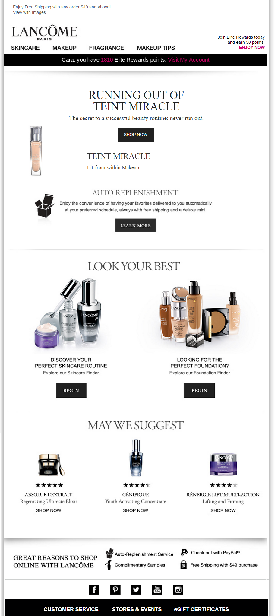 Subject Line Running On Low Replenishment Trigger From Lancome
