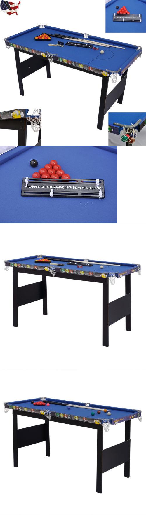 Tables 21213: Indoor Games Kids Children Folding Snooker Pool Table Deluxe  Billiard Blue BUY IT