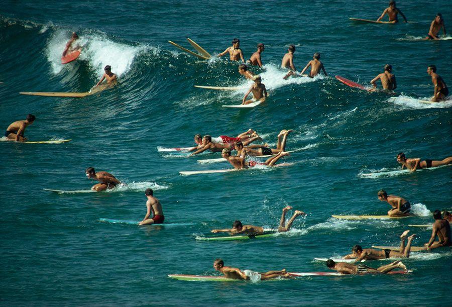 Surfistas esperando y montándose en olas en Bondi Beach, Australia, 1963: