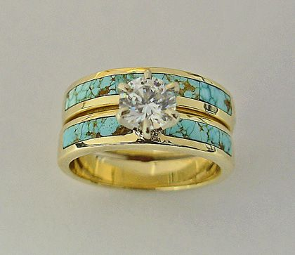 Dont Really Like Gold But I Think It Would Be Pretty In Silver 14 Karat Yellow Wedding Set With Turquoise And Diamond