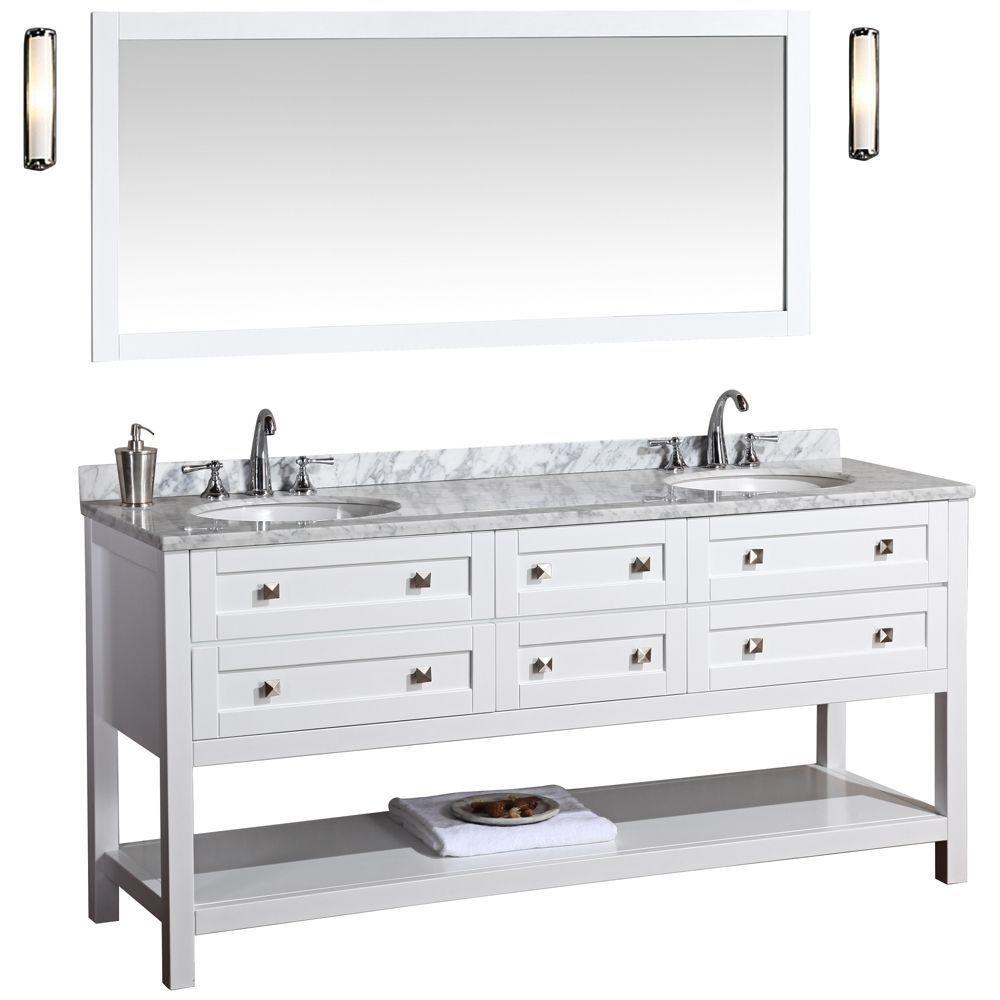 Double sink white bathroom vanities marla