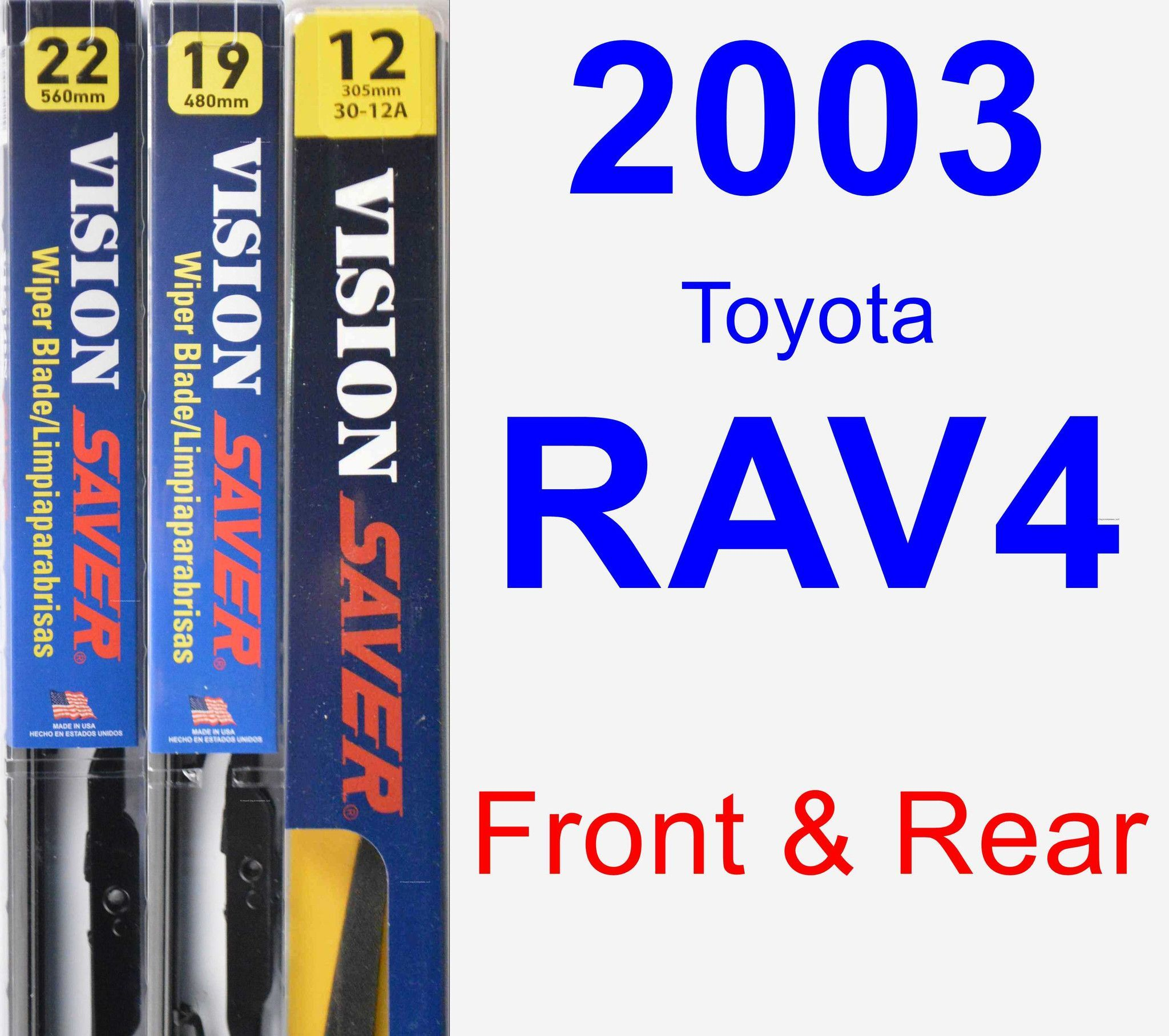 Front & Rear Wiper Blade Pack For 2003 Toyota RAV4