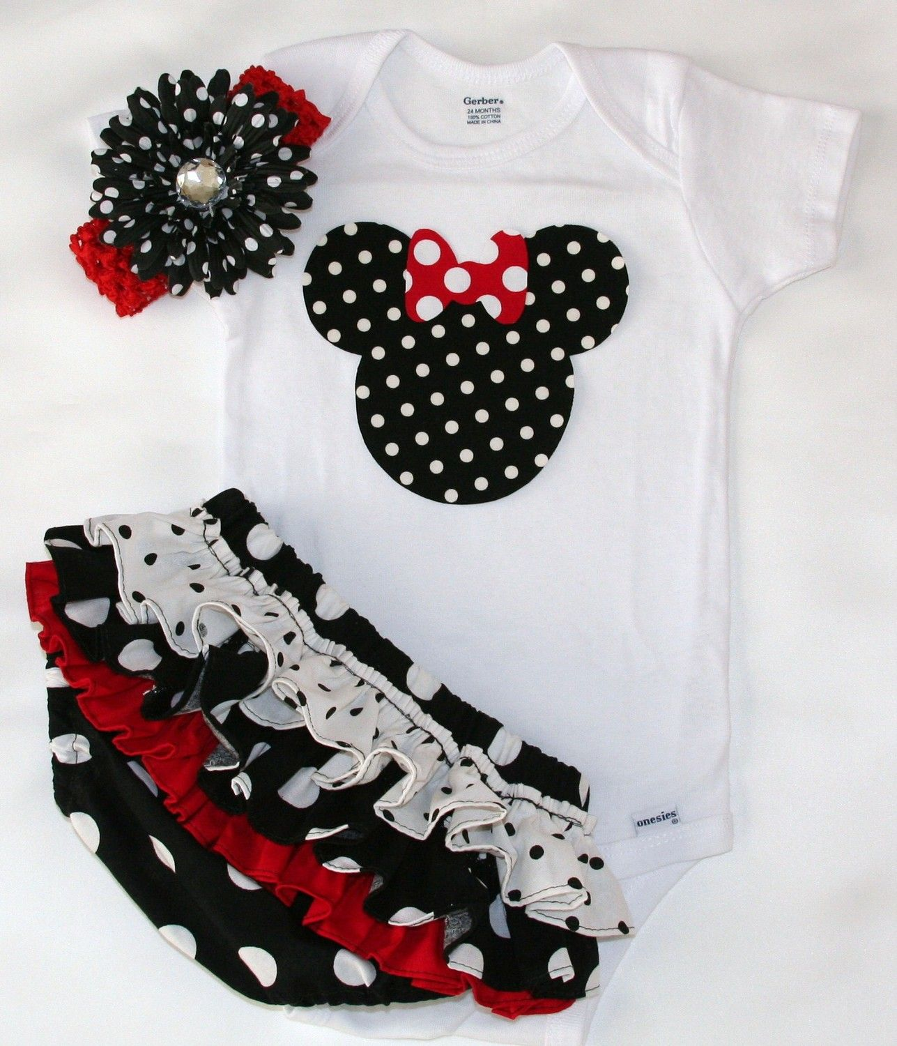 Black and white polka dot w/red and white w/matching ruffle bloomers diaper cover polka dot flower clip w/red headband minnie mouse onesie