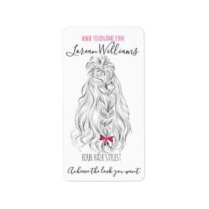 Long Wavy Hair With A Bow Hairstyling Branding Label Zazzle Com Long Wavy Hair Wavy Hair Hair Stylist Gifts