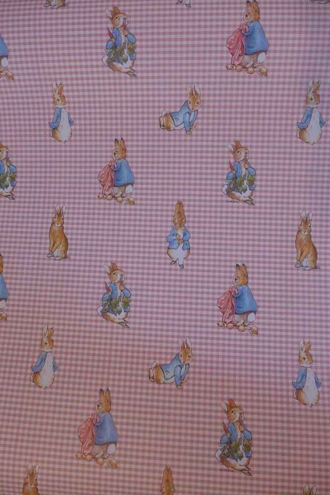 Motif Vintage Wallpaper Peter Rabbit Beatrix Potter Pink Gingham Nursery Vintage Wallpaper Pink Gingham Wallpaper Sticker Decor