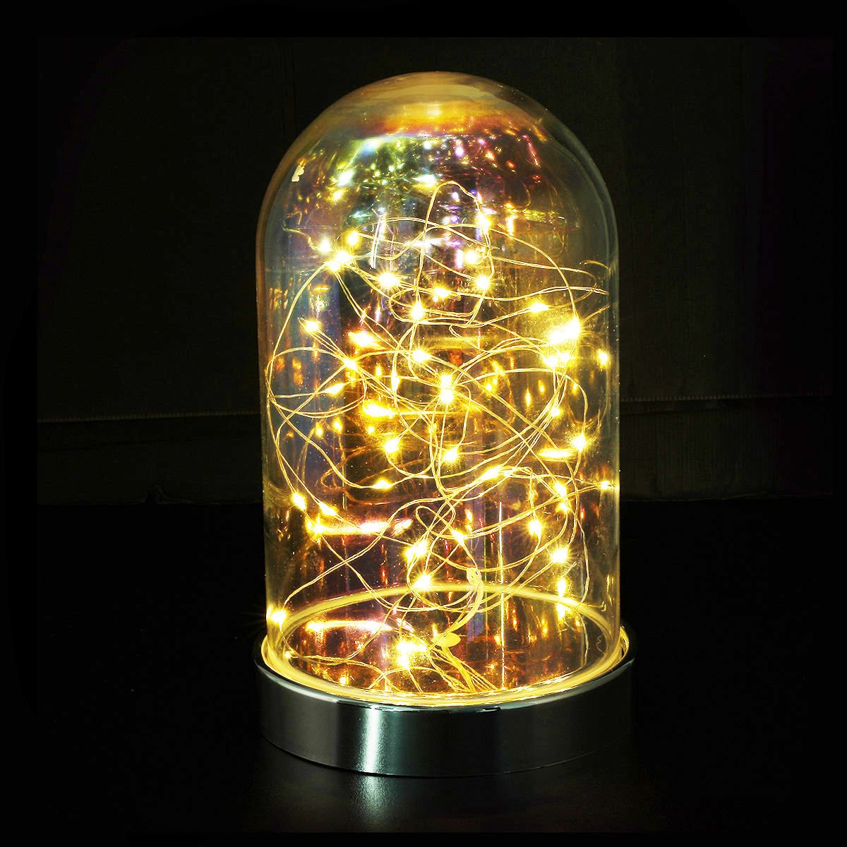 Battery Operated Glass Dome With Wire Led Lights Kmart Led Lights Glass Domes Edison Light Bulbs