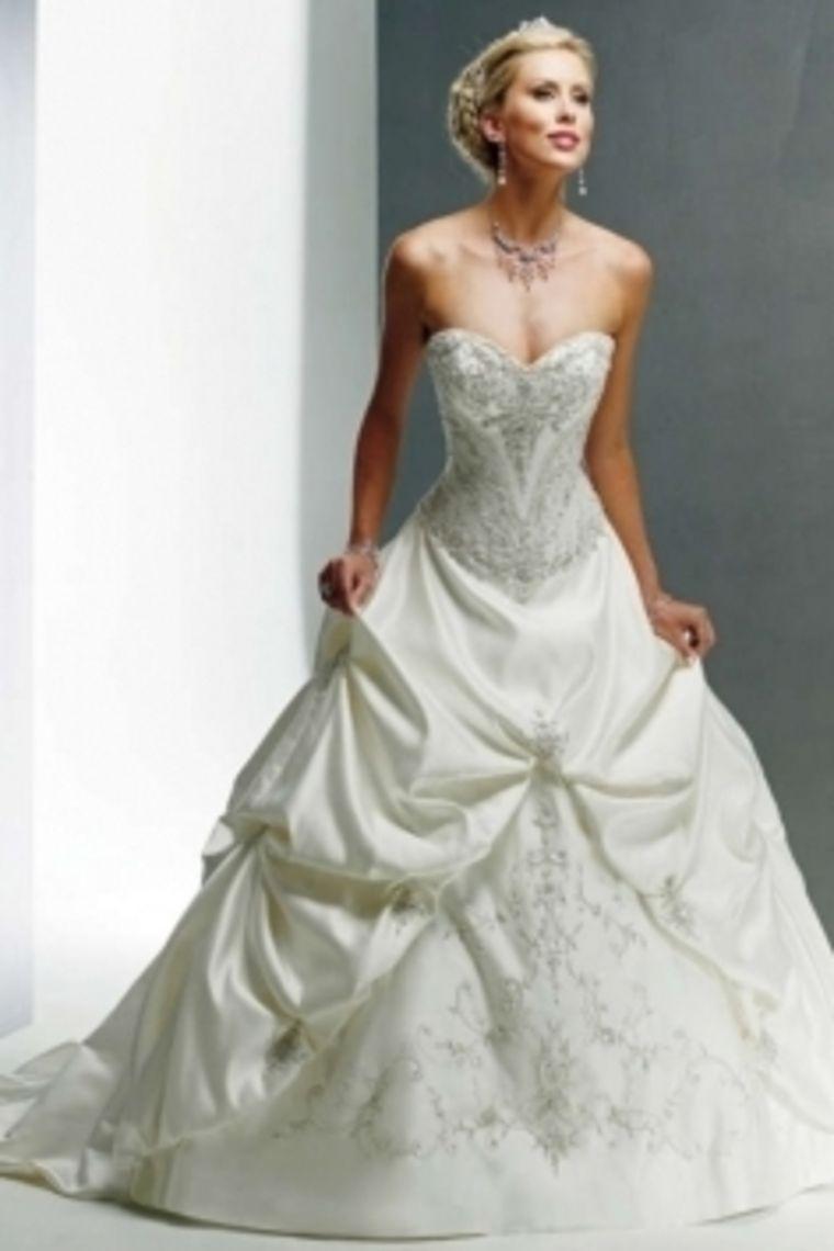 A line sweetheart ball gown beaded embroidery taffeta wedding