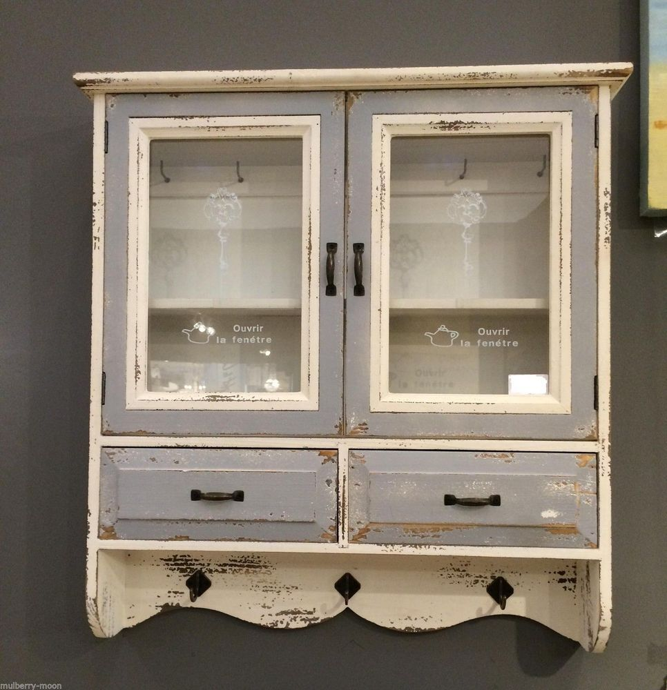 Wooden French Glass Wall Cabinet Vintage Storage Unit Hooks Shelves Drawers Wall Storage Cabinets Vintage Storage Wall Cupboards