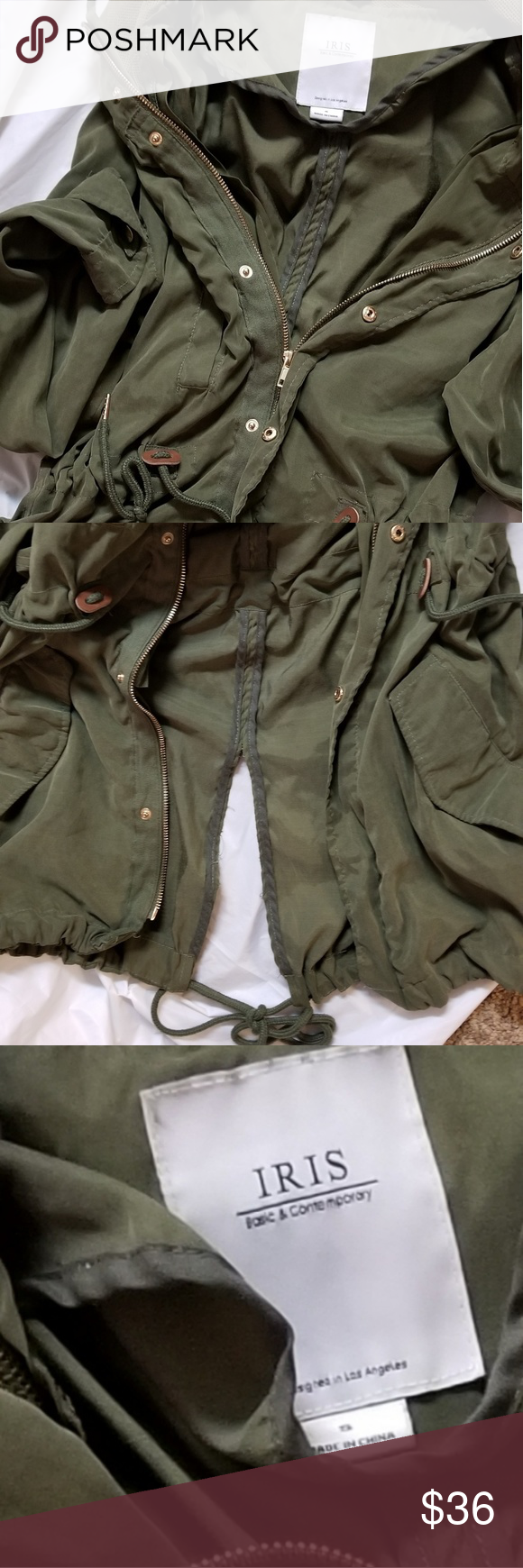 d946c6f7a624 iris utility coat good condition Iris    pretty long olive green utility  jacket.