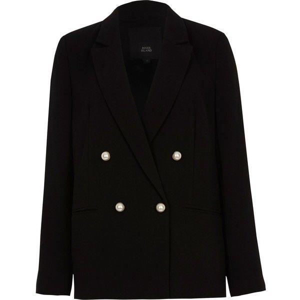 Zwarte double-breasted blazer met imitatiepareltjes (275 MXN) ❤ liked on  Polyvore featuring efd35cdf97a5