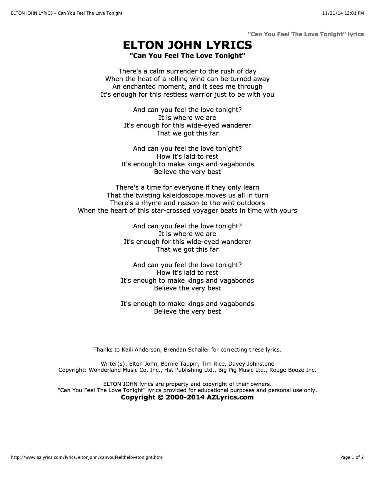 Can u feel love tonight lyrics