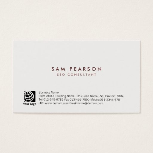 SEO Consultant Simple Minimal Business Card