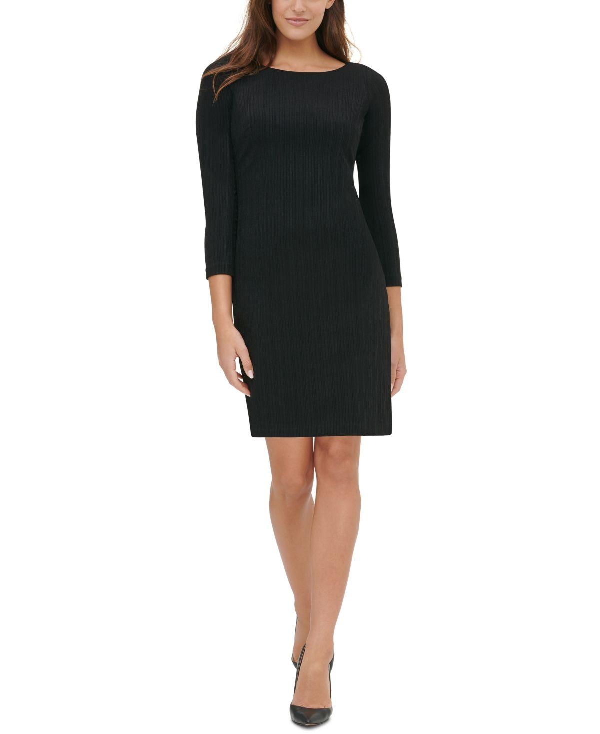 Tommy Hilfiger Tonal Stripe Sheath Dress Black Black Sheath Dress Sweater Dress Sheath Dress [ 1466 x 1200 Pixel ]