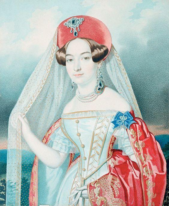 Портрет неизвестной фрейлины, художник К.К. Гампельн.,1835-1840-е-Дама в придворном костюме.