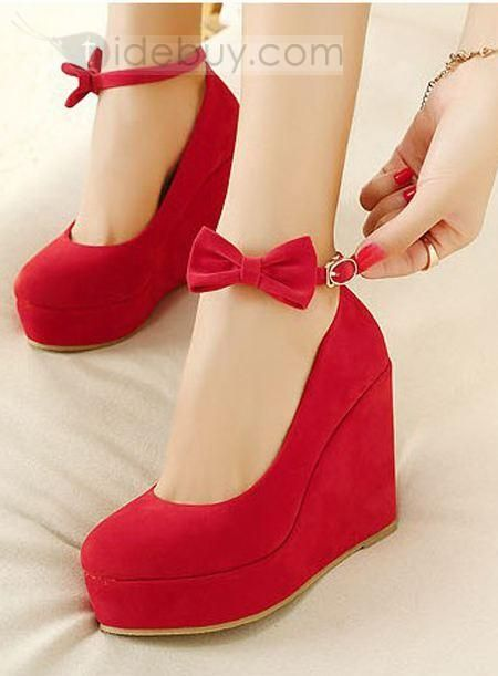 Hot Sale Red Suede Upper Wedge Heels with Bowtie : Tidebuy.com