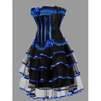 tier flounce two piece plus size corset dress  blue 6xl