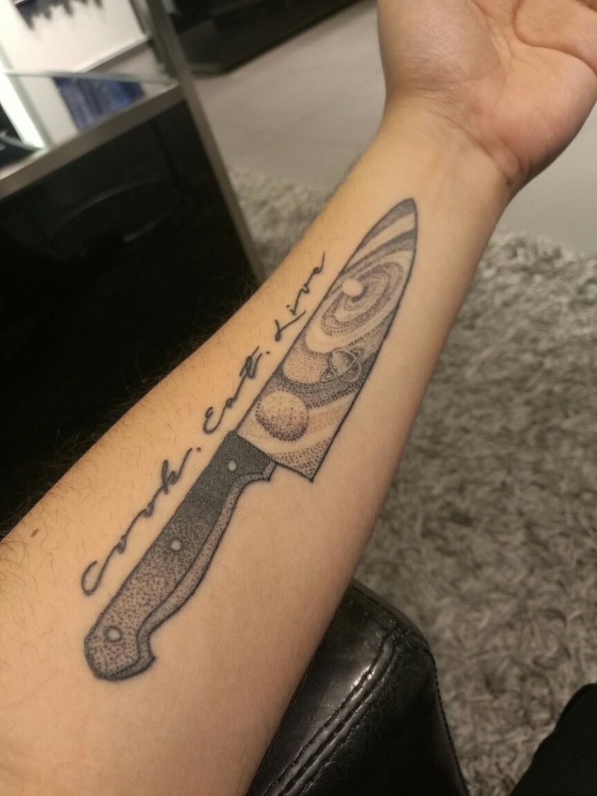 60 Chef Knife Tattoo Designs For Men – Cook Ink Ideas foto