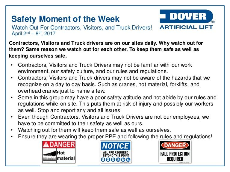 Watch Out for Contractors, Visitors and Truck Drivers