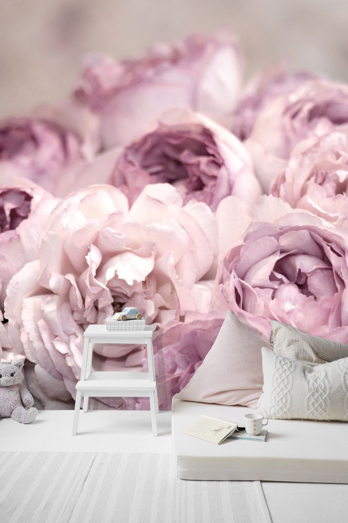 The Peony Garden Wall Mural, Peony Roses Flowers Wallpaper