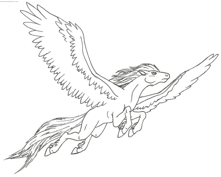Pegasus Flying By Ninetales4ever On Deviantart Horse Coloring Pages Pegasus Drawing Outline Drawings
