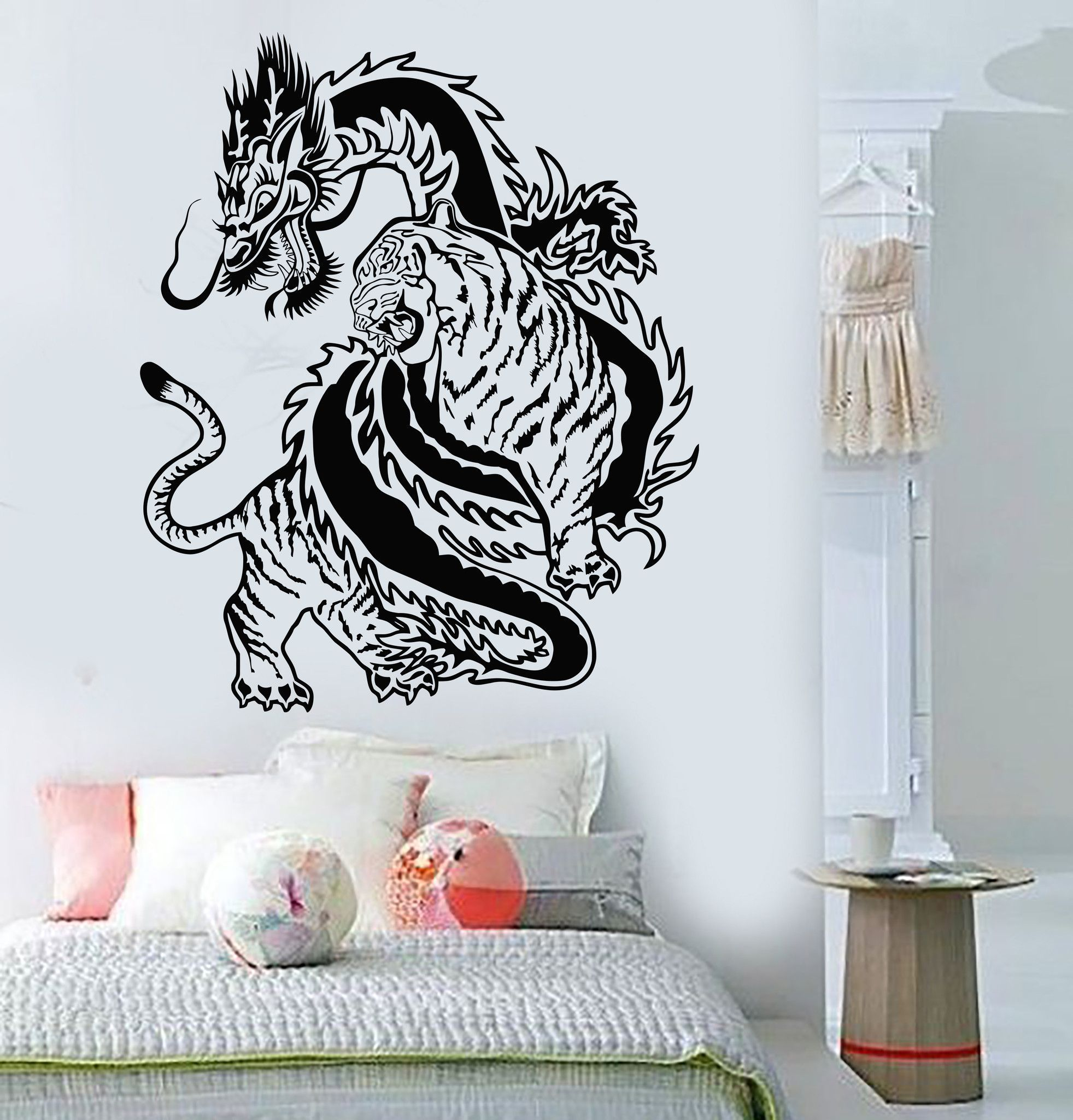 Vinyl Wall Decal Chinese Dragon Tiger Fight China Asian Art - Vinyl wall decals asian