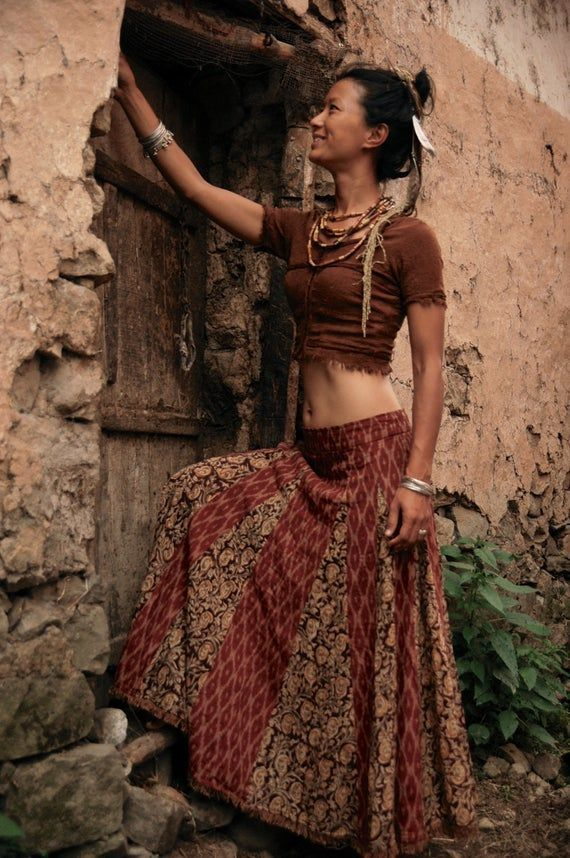OUTFIT GypSy Dancer Top and Long Skirt Brown Outfit Earthy Natural W ITH DISCOUNT OUTFIT GypSy Dancer Top and Long Skirt Brown Outfit Earthy Natural W ITH DISCOUNT