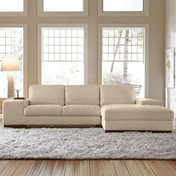 Costco: Angelo Cream Bonded Leather Sofa With Right Hand Facing Chaise