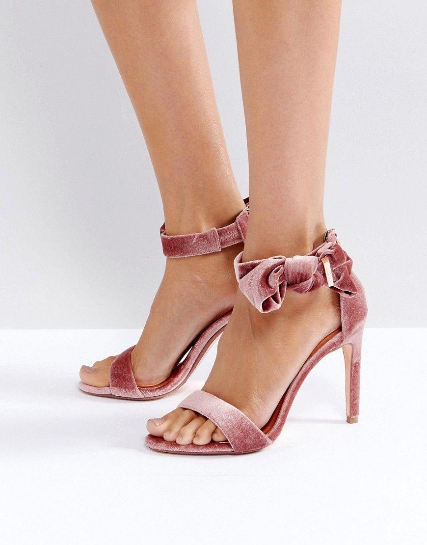 367824c6e977cd Ted Baker Torabel Bow Mink Velvet Heeled Sandals - Pink