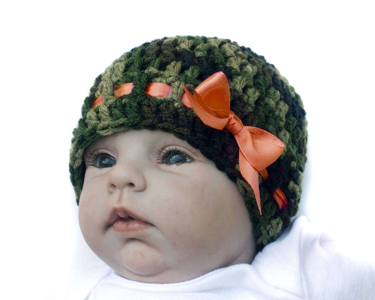 Baby GIRL CAMO HAT, Baby Camo Beanie, Crochet Camo Hunter Orange ...
