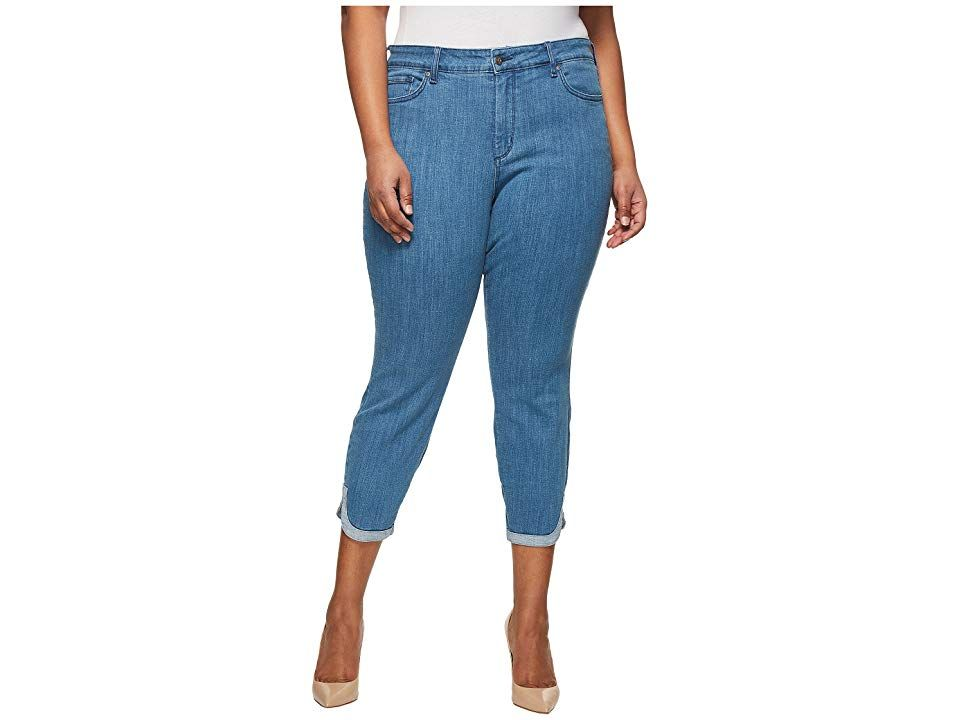 NYDJ Plus Size Plus Size Ami Skinny Ankle w Dolphin Hem in Bliss Bliss Womens Jeans Cuteascanbe denim Ankle jean has a high rise skinny leg and contrast dolphin hem Lift...