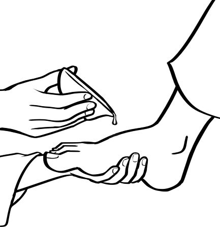 An Illustration Of Two Hands Holding A Foot And Pouring Water Over