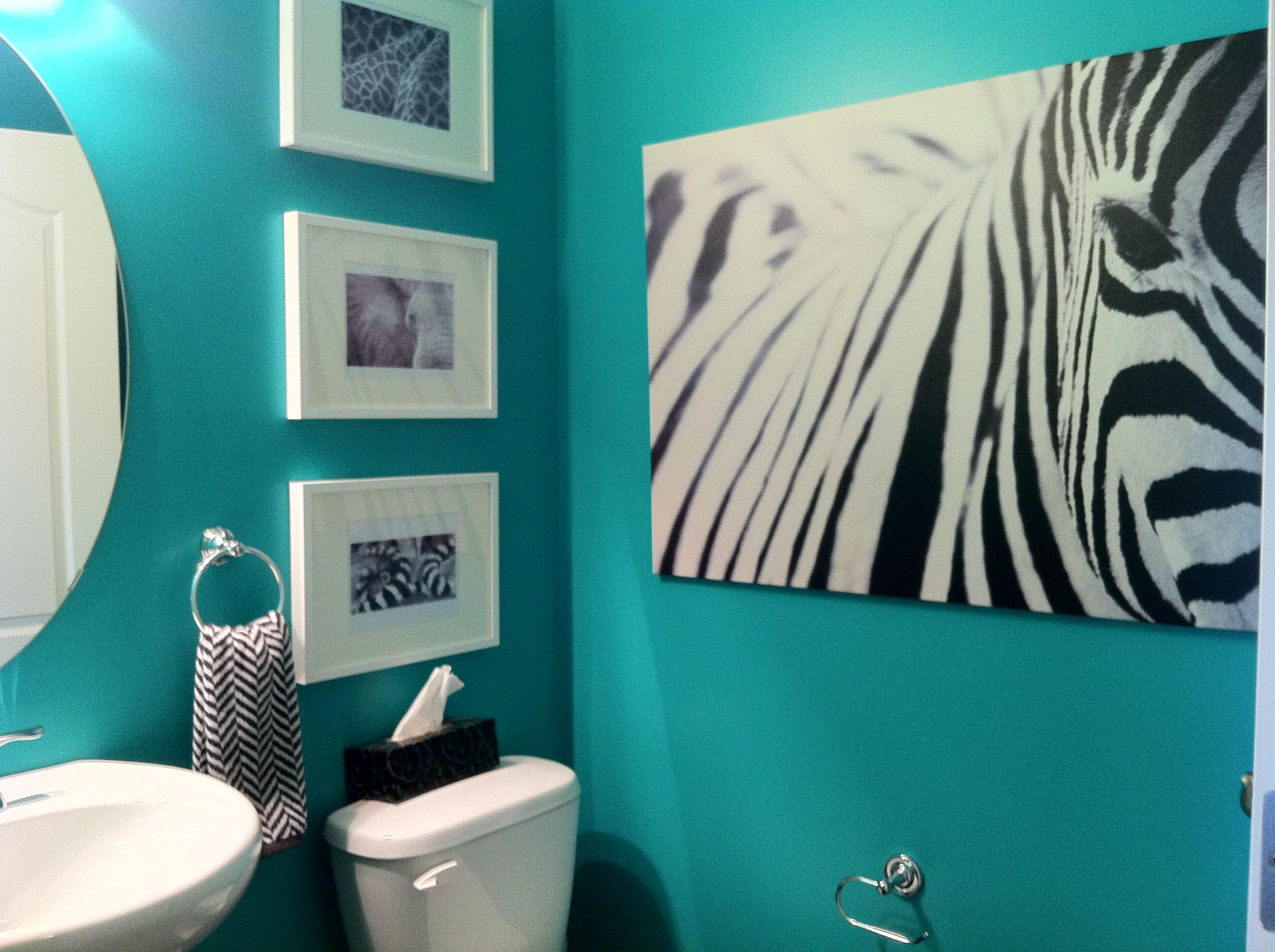 Teal powder room. It all started with the big Ikea zebra print
