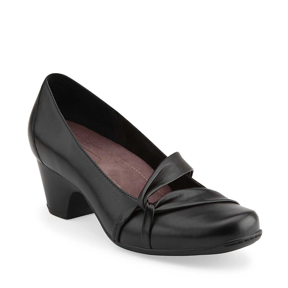 clarks Sugar Plum in Black Leather - Womens Shoes from Clarks 110.00 2.5  heel
