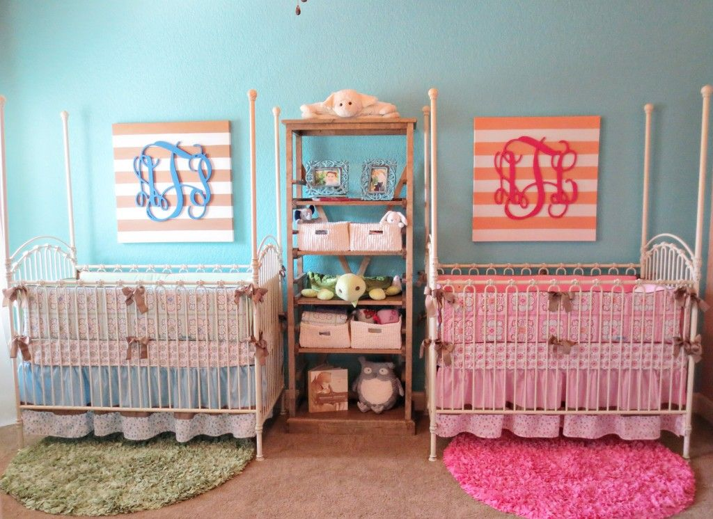 good Twins Nursery Boy And Girl Part - 16: boy and girl twins nursery | Coral u0026 Teal: Boy u0026 Girl Twin Nursery «  Project Nursery