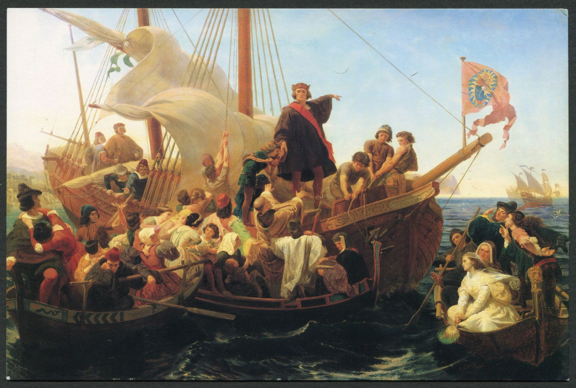 Postcard Showing The Painting Departure Of Columbus From